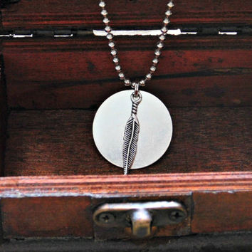 Silver Feather Charm Necklace Ball Chain Circle Disc Pendant Tribal Boho Long Necklace Layering Minimalist Vegan Festival Made in Texas USA