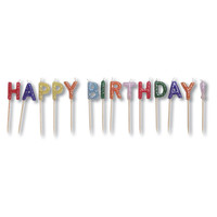 Candles Pick Sets with Glitter Happy Birthday/Case of 12