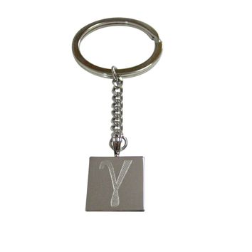 Silver Toned Etched Greek Letter Gamma Pendant Keychain