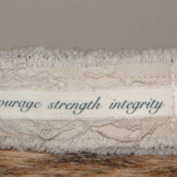 Inspirational Jewelry ID Bracelet Cuff Personalized Jewelry courage strength integrity