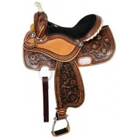 16 inch Double T barrel saddle with rawhide braided horn, saddles with silver star conchos