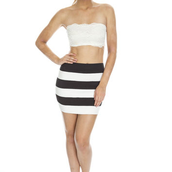 Striped Elastic Bandage Skirt