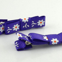 White Daisy Flower Purple Ribbon Hair Clips/Bow by theotherstacey