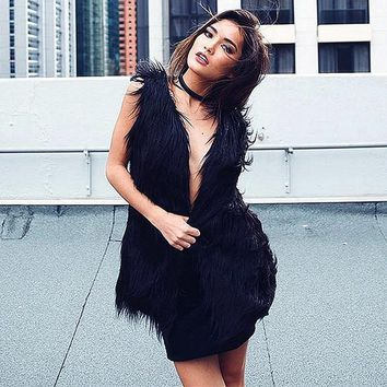 Fashion fluffy black faux fur vest waistcoat autumn winter sleeveless outerwear women coats soft fake fur overcoat