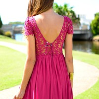 Pink Crochet Overlay Pleated Dress with V-Back&Cap Sleeves