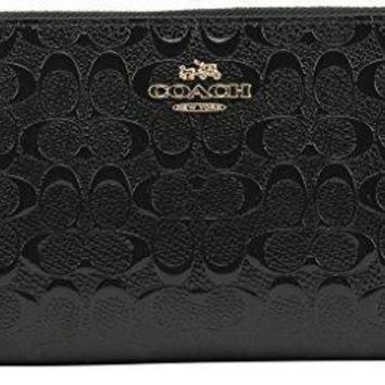 Coach Accordion Zip Wallet In Signature Debossed Patent Leather F54805