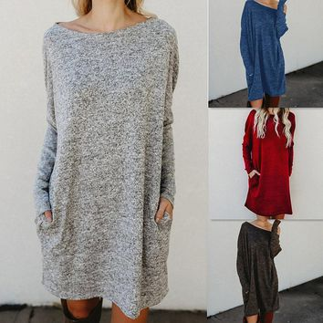 Loose Candy Color Long Sleeves Scoop Short Knit Dress