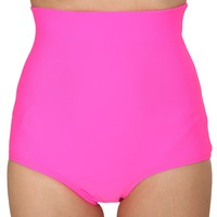 Neon Pink Matte Color High Waist Shorts