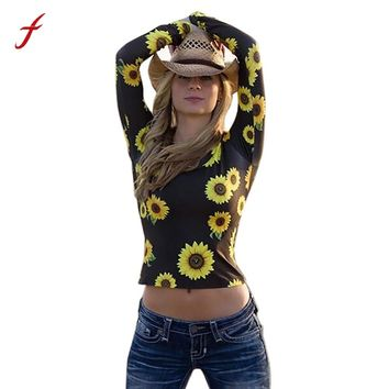 Fashion Women T-Shirts Sunflower Print Tops Long Sleeve O-Neck Female Casual Flower Printed Tops Tee Lady T Shirts Hot t-shirts