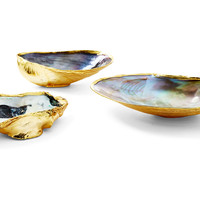 18-Kt Gold-Plated Oysters, Set of 3, Coral, Barnacles, Shells & Starfish