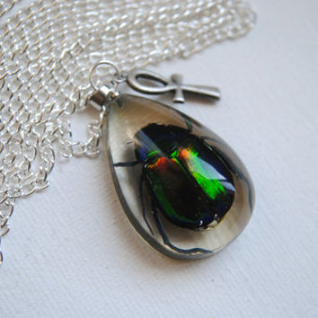 Scarab Beetle Necklace -- REAL Beetle -- Bug Jewelry --- Egyptian Scarab Beetle -- Ankh Cross -- Boho Chic -- Resin Beetle
