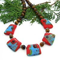Turquoise and Red Southwest Necklace, Lampwork Tigers Eye Handmade Statement Jewelry for Women