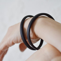 The exothic boho- Thin Black ebony wood braclet bangle