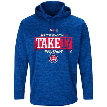 Chicago Cubs Royal 2017 Postseason Authentic Collection Ultra Streak Fleece Pullover Hoodie