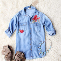 Storied Rose Chambray Top