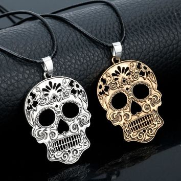 Sugar Skull Necklace Day Of The Dead Skeleton Pendant Necklace