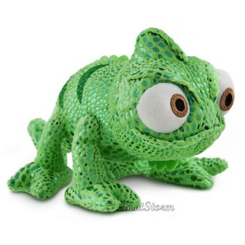 Licensed cool Disney Store Tangled Rapunzel PASCAL Green Chameleon Bean Bag Plush Toy Doll