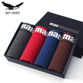 4pcs Cotton underwear men boxer