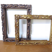 Two carved wood look picture frames with deep scroll detail, 6 x 8