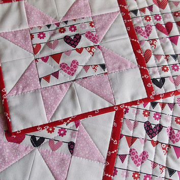 Valentines Hearts Mug Rugs - Mini Quilts - Place Mats - Candle Mats - Pink - Red -White - Sawtooth Star - Set of 2