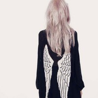 Angel wings cardigan knit long-sleeved sweater