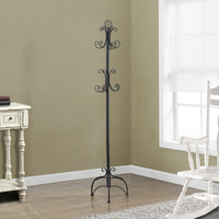 "Hammered Black Metal 72""H Coat Rack"