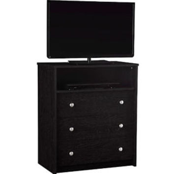 Black 3 Drawer Dresser Chest Storage Organizer Bedroom Furniture TV Gaming Media