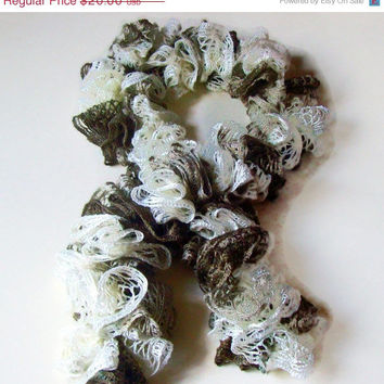 On Sale Easter Gift , Ruffle Scarf ,Sashay Scarf , Crochet Ruffle Scarf , Women's Accessory , Lacey Scarf , Fashion Accessory