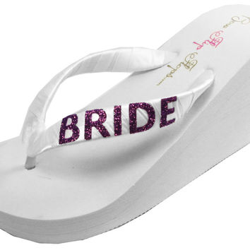 Wedge Flip Flop Sandals for the Bride - Choose Ivory or White Heel