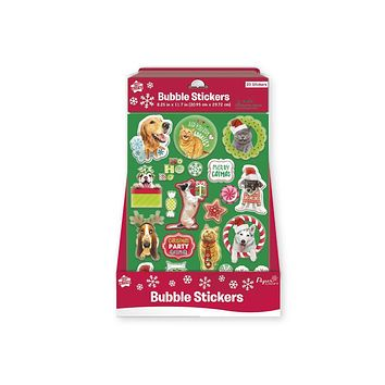 Holiday Christmas Bubble Stickers - Photographic Pet series - 24 Units