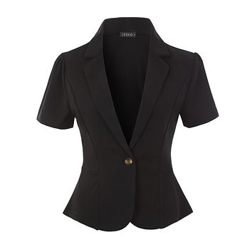 Classic Solid Single Button Stretchy Short Sleeve Collared Blazer Jacket