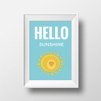 Hello Sunshine Print, Kids Wall Art, Typography Print, Wall Quotes, Printable Wall Art, 8x10