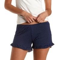 Navy Combo Polka Dot Ruffle-Trimmed Lounge Shorts by Charlotte Russe