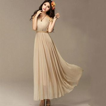 2016 Summer Vintage Women Sleeveless Beige Lace Patchwork Pleated Maxi Dress Ankle-Length Solid Chiffon Long Dress With Belt