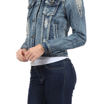 Chiqle Denim Womens light weight blue jean jacket Young Adults
