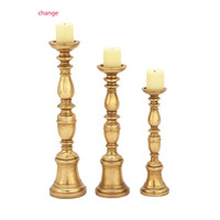 Benzara Ornamental Polystone Gold Candle Holder Set Of 3