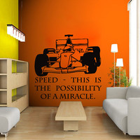 Wall Decal Sport Vinyl Sticker  Formula 1 Racing Quote  Art Design Room Nice Picture Decor Hall Wall Chu1075