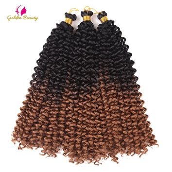 Golden Beauty 14inch Curly Crochet Hair Extensions Crochet Braids Synthetic Braiding Hair Bulk 15strands/pack 100g