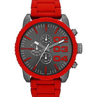 Diesel Men's Red Chronograph Silicone Wrapped Bracelet Watch - Red