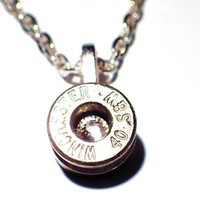 Bullet Necklace 40 caliber Bullet head Necklace with link chain Clear Diamond crystal