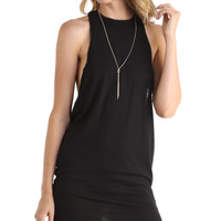 HALTER NECK TSHIRT DRESS - BLACK
