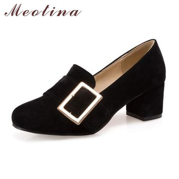 Meotina High Heels Shoes Women Pumps Ladies Shoes Fashion Causal Chunky High Heels Flock Buckle Heels Black Beige Large Size 46