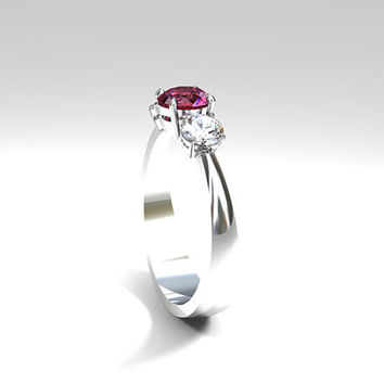 Pink tourmaline and diamond trinity engagement ring, white gold, pink engagement ring, diamond trinity , unique, tourmaline engagement ring