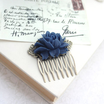 Navy Dark Blue Rose Flower Antiqued Brass Filigree Hair Comb. Wedding Floral Hair Comb. Bridesmaid Hair Comb. Wedding Bridal Hair Comb.