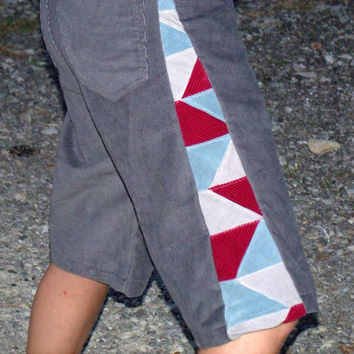 Patchwork Corduroy Shorts Grey Blue red Pants Hippie Handmade Festival Heady  Kynd Valley Mens 32