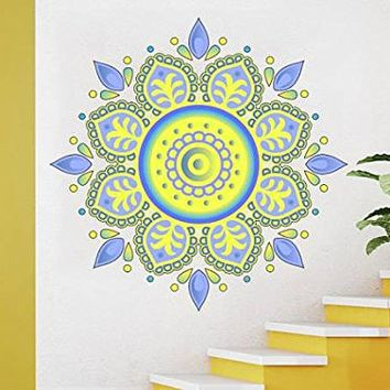 Wall Decal Mandala Full Color Vinyl Sticker Decals Colorful Floral Ukrainian Decor Boho Bohemian Bedroom Ornament Yoga Studio Namaste EN6 (17x17)
