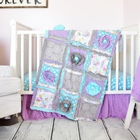 Floral Baby Girl Crib Set - Purple / Aqua / Gray