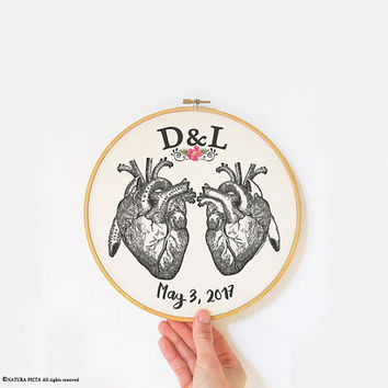 Heart embroidery hoop art-anniversary gift-anatomy wall art-home decor-hoop art-wedding gift-love wall art-couple gift-NATURA PICTA-EHO17