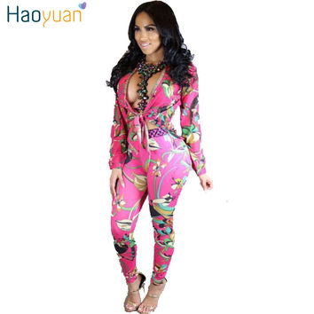 HAOYUAN 2017 Print Two Piece Jumpsuit Set Bodycon Full Bodysuit Elegant Long Sleeve Sexy Deep V Neck Rompers Womens Jumpsuit