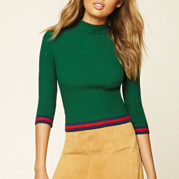 Ribbed Contrast Knit Top